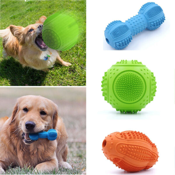 Pet Dog Chew Toy Puppy Cat Rubber Dental Teething Healthy Teeth Gums Training