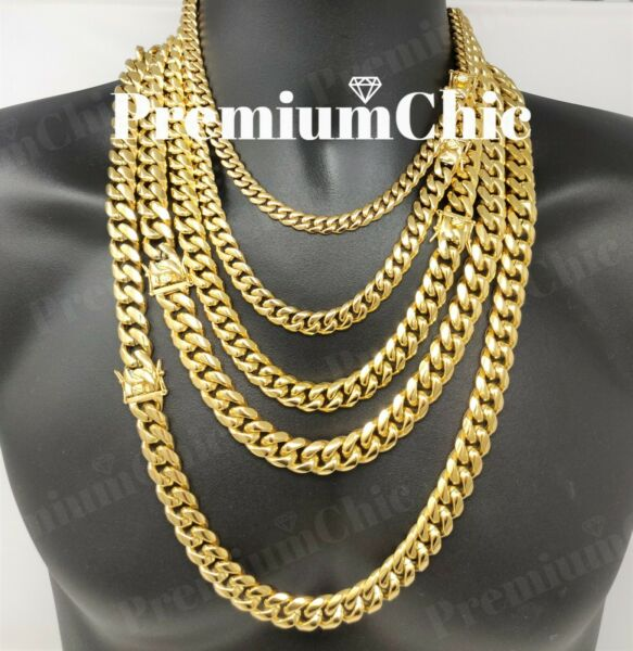 Mens Miami Cuban Link Chain HEAVY 18k  14k Gold Plated Stainless S