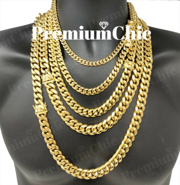 Mens Miami Cuban Link Chain HEAVY 18k 14k Gold Plated Stainless Steel $41.99
