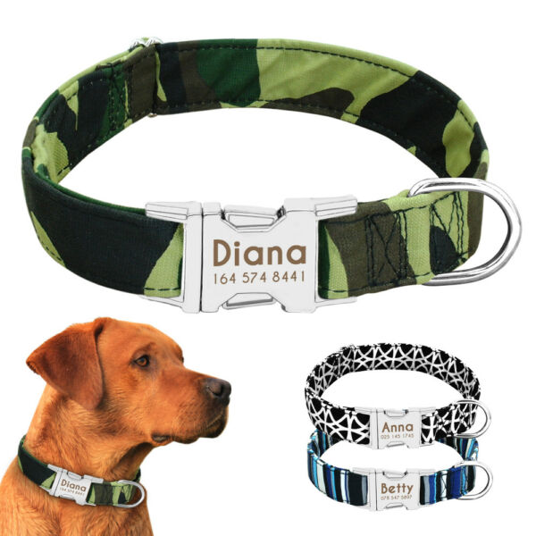 Nylon Personalized Dog Collars Custom ID Collar Tag with Heavy Duty Buckle S M L $9.99