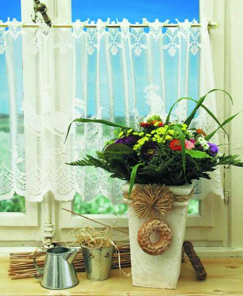 Western Lace Kitchen Curtain Warp Knitted Jacquard Roosters Coffee Curtain