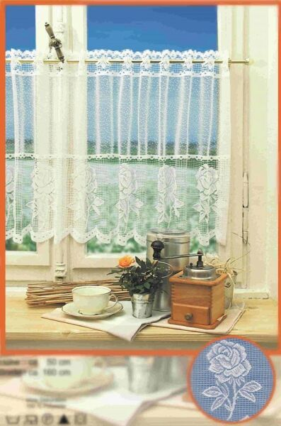 Western Lace Kitchen Curtain Warp Knitted Jacquard Rose Flowers Coffee Curtain
