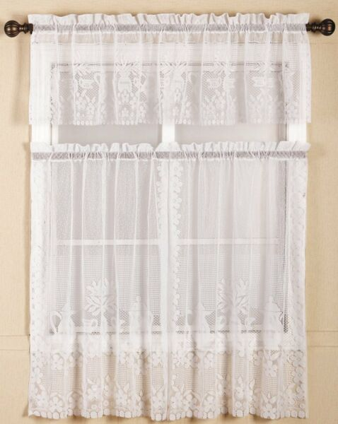 Lace Kitchen Curtain Warp Knitted Teapots Lace Coffee Curtain Up Down Curtain