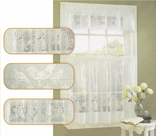 Lace Kitchen Curtain Warp Knitted Flower Basket Coffee Curtain Up Down Curtain