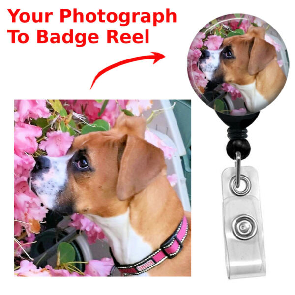 Custom Retractable Your Pets Picture Cat Dog Badge Reel ID Name Card Holder $9.99