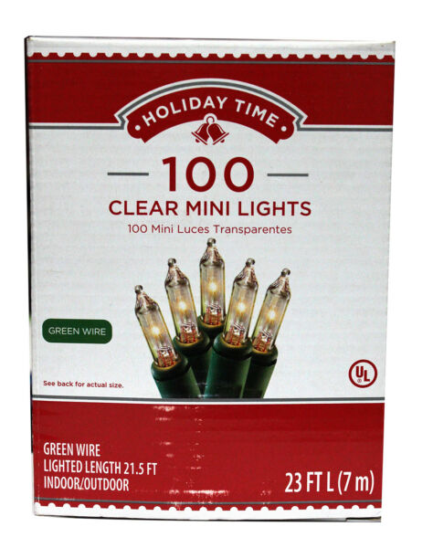 Lot of 12 Holiday Time 100 Clear White Mini Lights Christmas- FREE Shipping