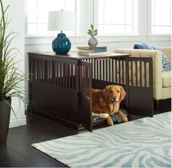 Extra Large Dog Crate Wood Furniture End Table Big Dogs House Indoor Cage Kennel