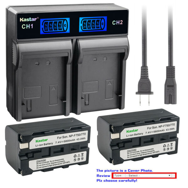 Kastar LCD Rapid Charger Battery for Sony NP F750 NP F770 NP F960 NPF970 NP F980