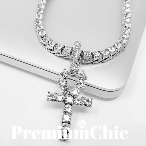 ANKH Cross Pendant Tennis Chain 14K Silver Gold Rose Hip Hop ICED Necklace