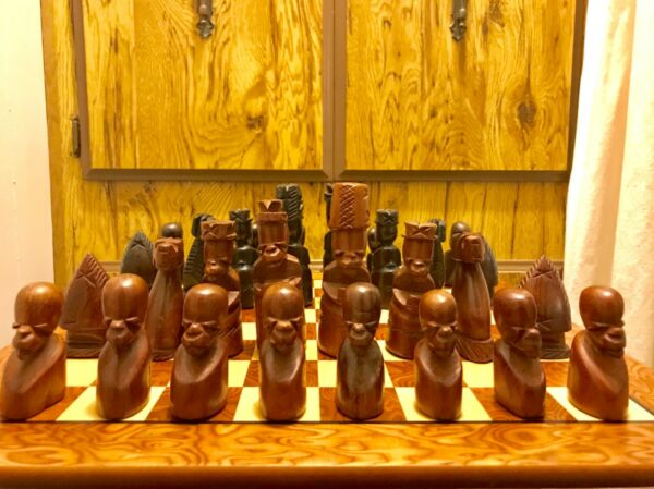 Vintage Hand Carved Senufo Figures Wood Chess Set 5