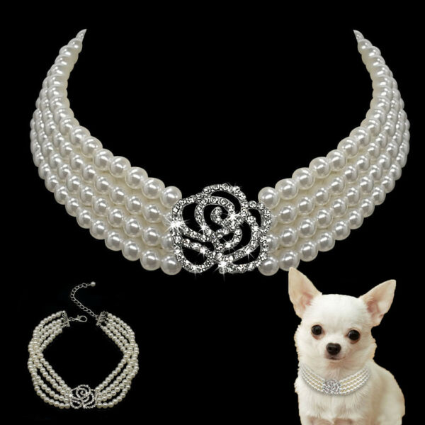Luxury Dog Necklace Collar Jewelry Diamante for Pet Puppy Cat Chihuahua Yorkie $4.99