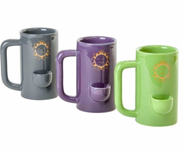 Wake and bake Mug Novelty Coffee Ceramic Tea Cup with Pipe Filters