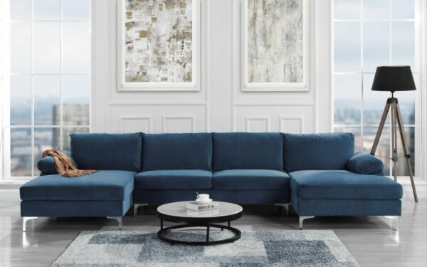 Modern Large Velvet U Shape Sectional Sofa Double Extra Wide Chaise Lounge Navy $699.99