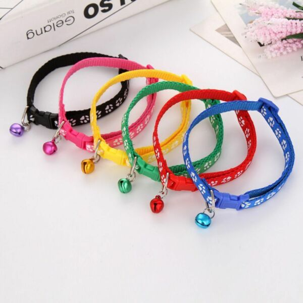 Pet Dog Collar Puppy Cat Pet Buckle Dogs Leads Adjustable Neck Strap With Bell $5.55