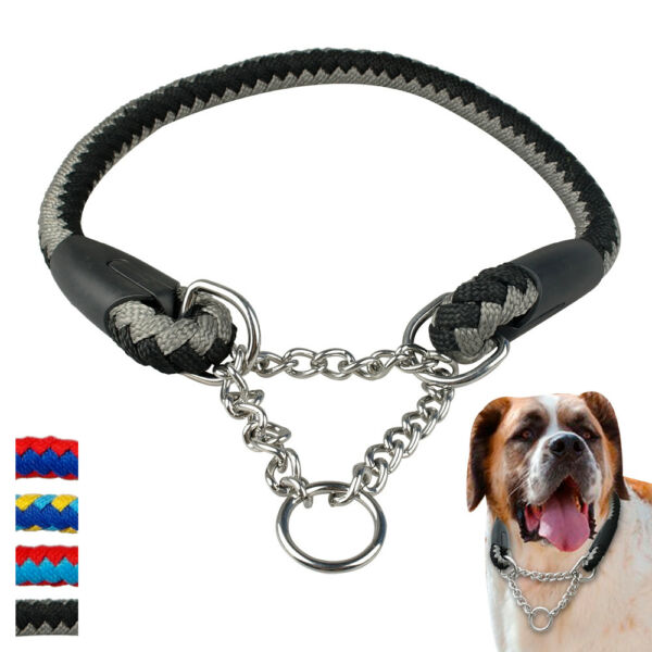 Martingale Collars for Dogs Large Braided Rope Half Chain Choke Training Pitbull $19.99