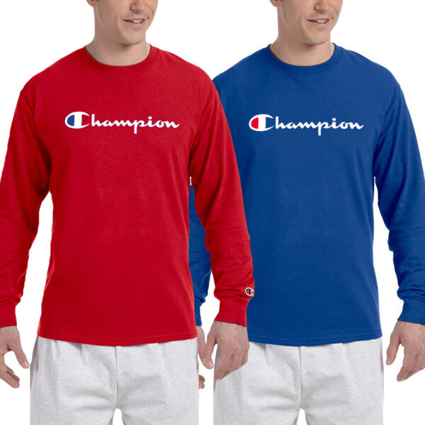 Champion Mens Classic Script Logo Long Sleeve T Shirt---Brand New---S-3XL $15.78