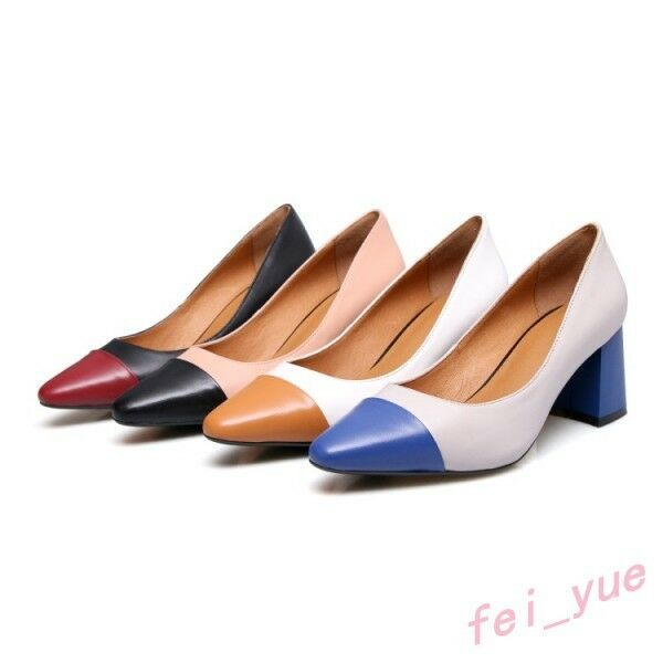 Womens Hot Pump Multi color Cow Leather Slip on Cuban Heels Dress Work OL Shoes $50.64