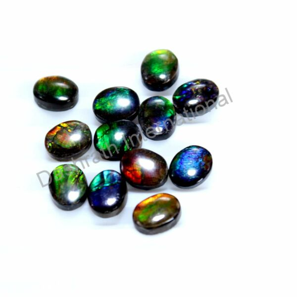 Natural Ammolite Oval 8x6mm To 10x8mm Cabochon Loose Gemstone Multi Fire