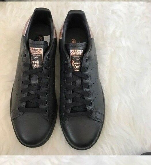 NWOB adidas Core Black W Rose Gold STAN SMITH Classic Trainers Women's Size 6.5