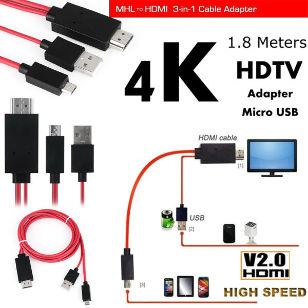 5Pin 1080P HD TV Cable Adapter MHL Micro USB to HDMI For Android Samsung Phones