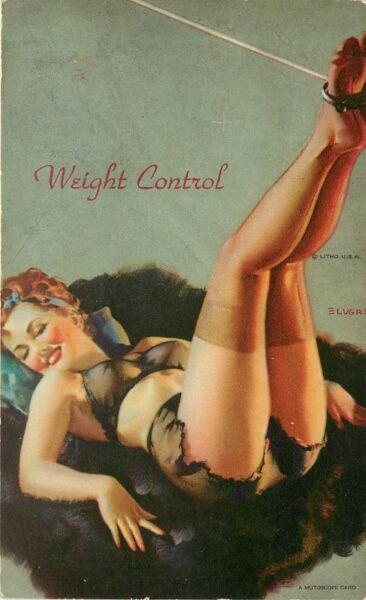 1940s Vintage Mutoscope Pinup Arcade Card Weight Control Yankee Doodle Girls