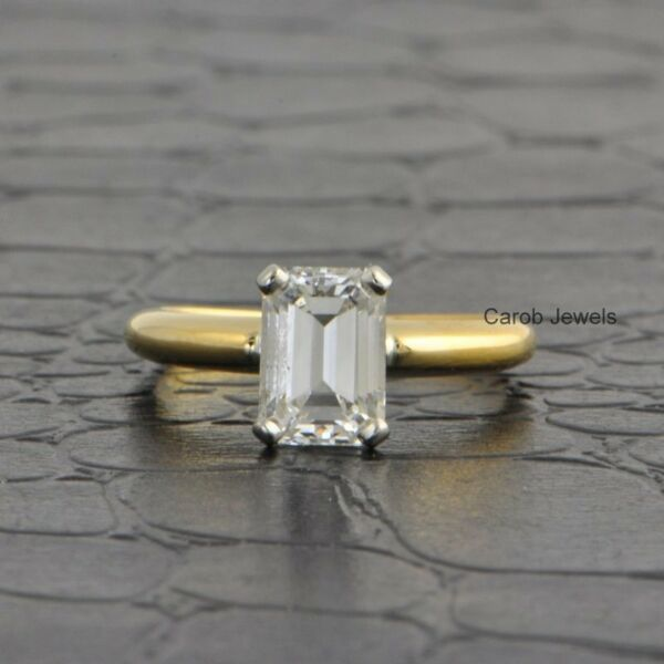 2Ct Emerald Cut Near Colorless Moissanite Engagement Ring 14K Solid Yellow Gold