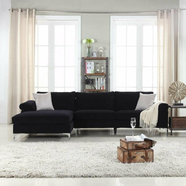 Modern Large Velvet Fabric Sectional Sofa with Extra Wide Chaise Lounge - Black $519.99