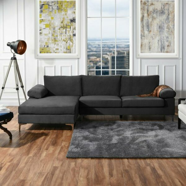Modern Large Velvet Fabric Sectional Sofa L-Shape Couch Wide Chaise Lounge Grey $519.99