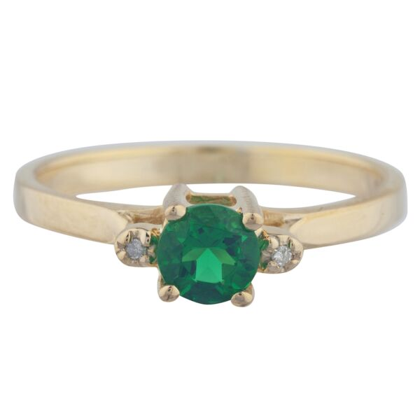 0.50 Ct Emerald & Diamond Round Ring 14Kt Yellow Gold Rose Gold Silver