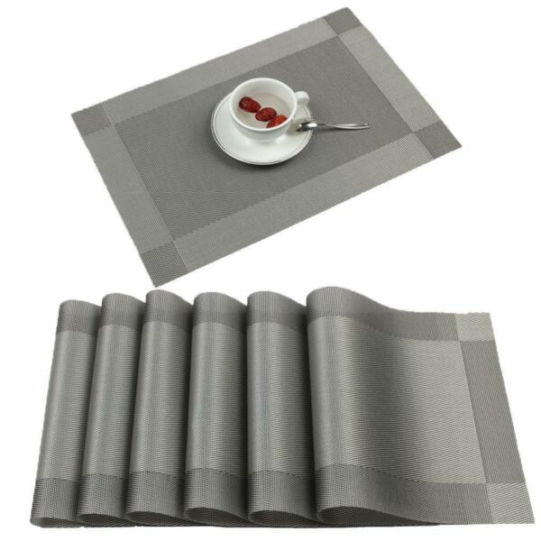 Placemats Ivalue Rectangle Washable Vinyl Place Mats for Kitchen Table Set of 6