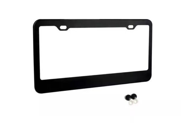 MATTE BLACK STAINLESS STEEL METAL LICENSE PLATE FRAMESCREW CAPS TAG COVER