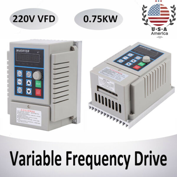 220V 1HP 0.75KW Single Phase To 3Three Phase Output Frequency Converter V