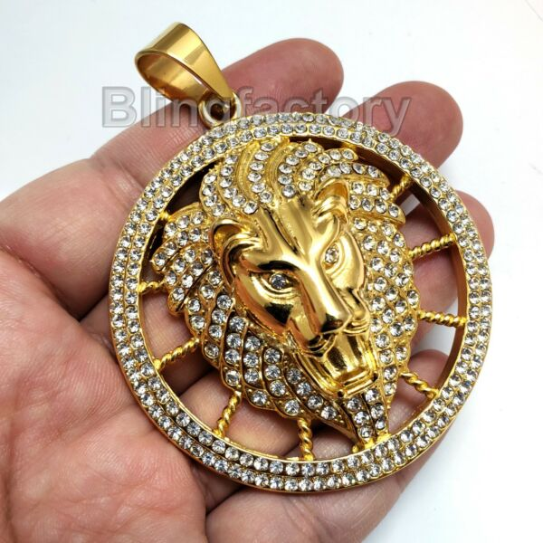 HIP HOP ICED STAINLESS STEEL LAB DIAMOND GOLD PT LARGE LION HEAD PENDANT $29.88