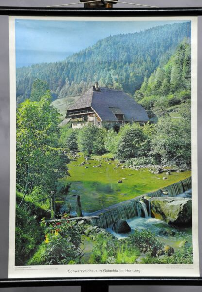 Black Forest house landscape scenery river dam wall chart poster decoration