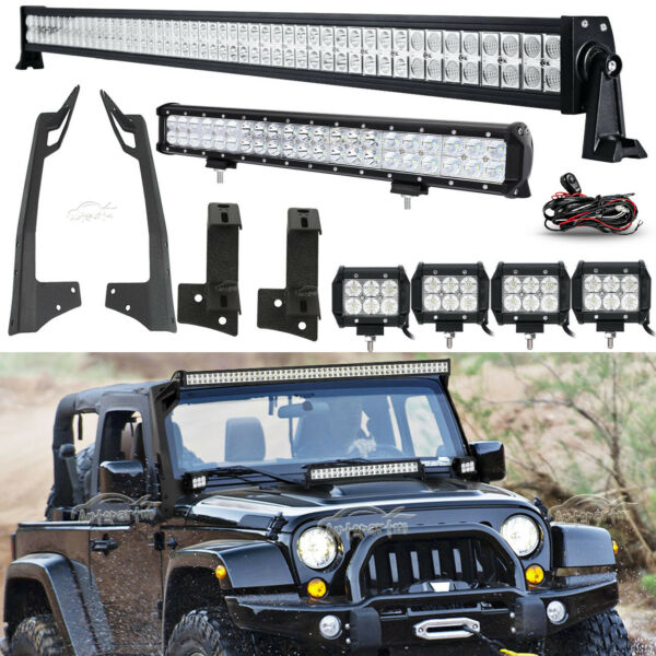 Mounting Bracket For Jeep Wrangler JK 52quot; 700W20quot; 294W4quot; 18W LED Light bar Set