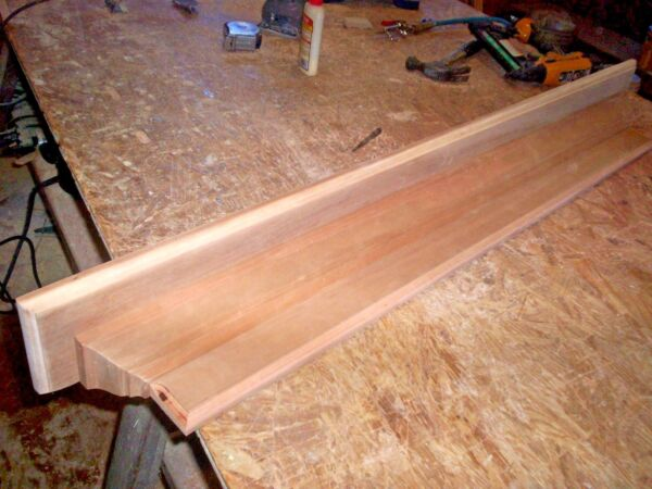 SOLID CHERRY 54 INCH HAND BUILT WALL SHELF MANTEL STAIN GRADE WOOD