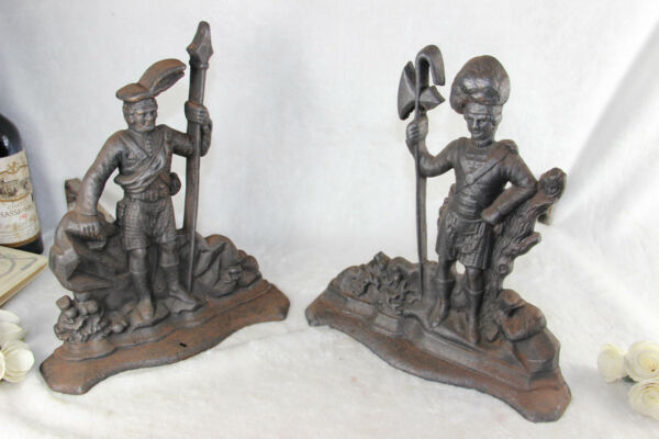 PAIR XXL Cast iron Officers soldiers Figural fireplace andirons firedogs France
