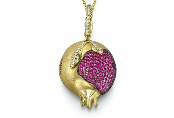 18k Yellow Gold Ruby & Diamond Pomegranate Jewish Necklace Pendant Brushed 29mm