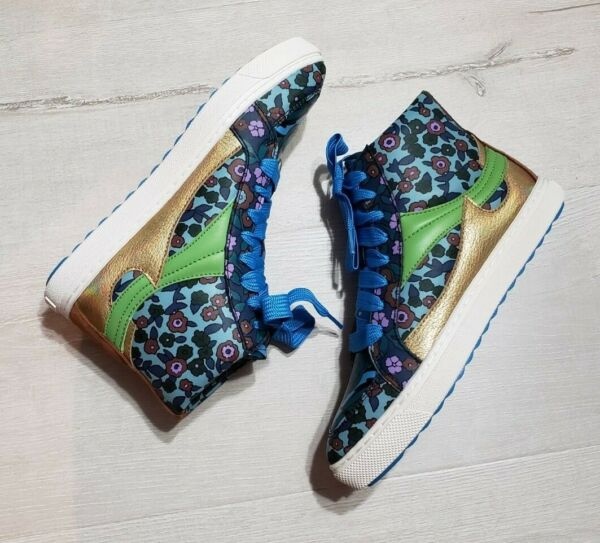 New Coach Floral Blue & Gold Leather High Tops Sneakers Size 8