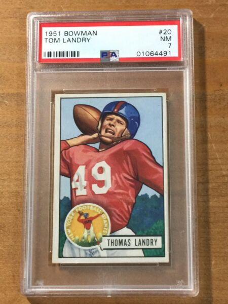 1951 BOWMAN Tom Landry RC #20 NM PSA 7