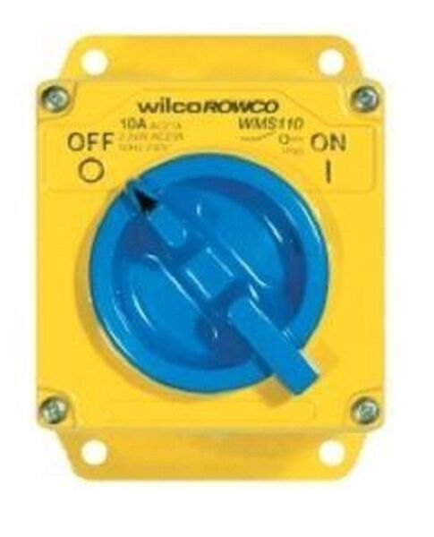 Wilco METAL CLAD 'A' SERIES REVERSING SWITCH 3-Pole 415V Yellow- 20A Or 32A