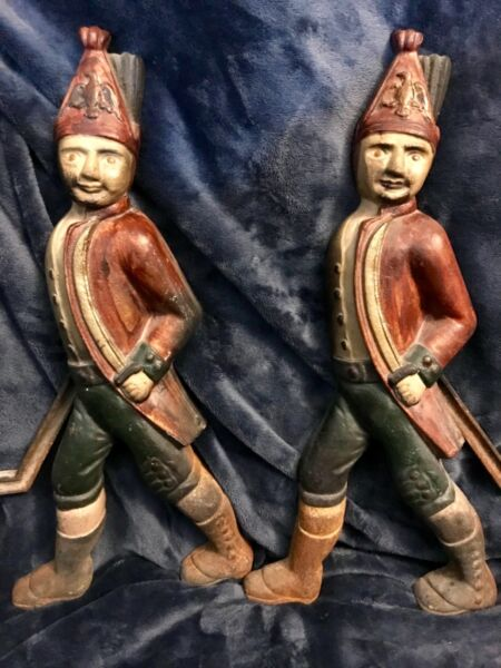 Antique Pair Hessian Soldiers Cast Andiron Firedog Fireplace Chenet Figural