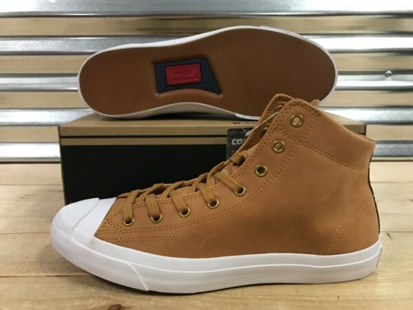 Converse Jack Purcell JP Jack Mid Shoes Raw Sugar Brown White SZ ( 157709C )