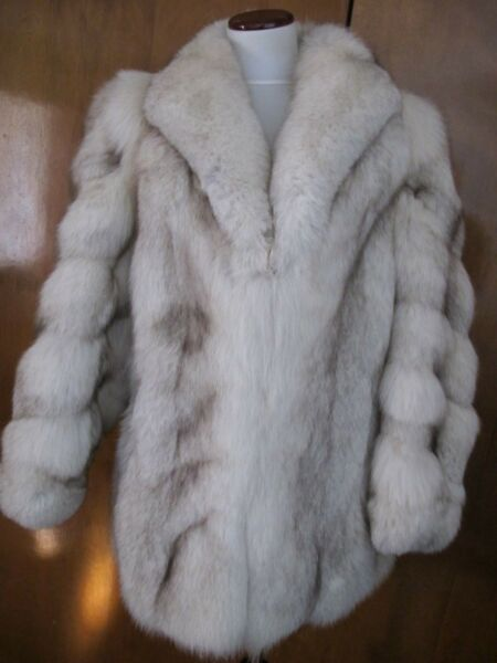 Women's Cream Mid Long Fox Fur Thick Winter Coat Tailor Made Medium