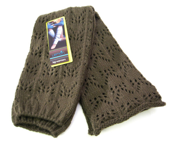 Lemon Lacy Knit Leg Warmers Boot Toppers Biscuit Brown - NEW