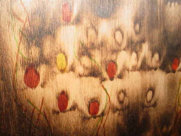 COOL MID CENTURY PYROGRAPHY PAINTING ABSTRACT LARGE CHOIR SINGING UP TO HEAVEN