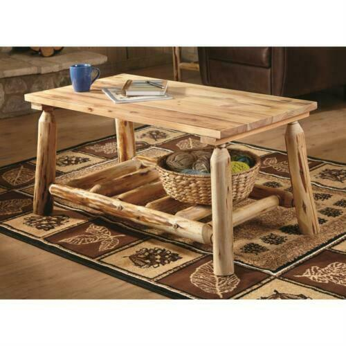 Natural Pine Log Coffee Table Premium Lacquer Finish Solid Wood Rustic Furniture