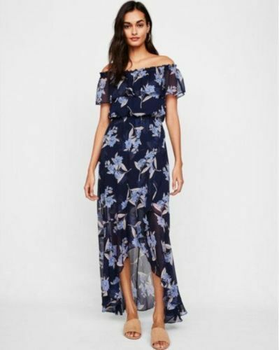 NEW EXPRESS NAVY BLUE FLORAL OFF THE SHOULDER RUFFLE FRONT MAXI DRESS SIZE XS