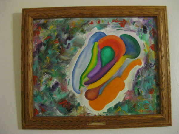 Abstract Oil Painting signed by the artist Erasto Medrano (Gut Feeling) palette
