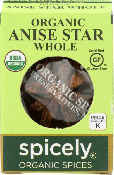 Spicely Organics-Organic Anise Star Whole, Pack of 6 ( .1 OZ )